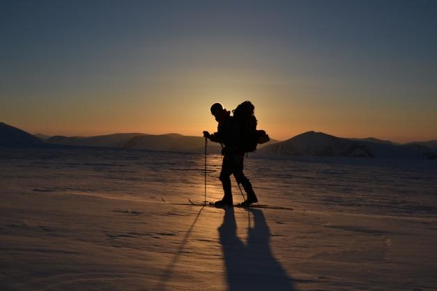 Eirik i solnedgang  Foto: Irmeline de Sadeleer